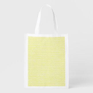 Creamy Yellow Weave Mesh Look Grocery Bag