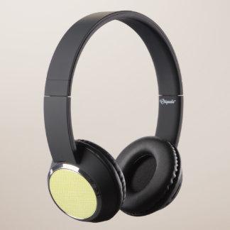 Creamy Yellow Weave Mesh Look Headphones