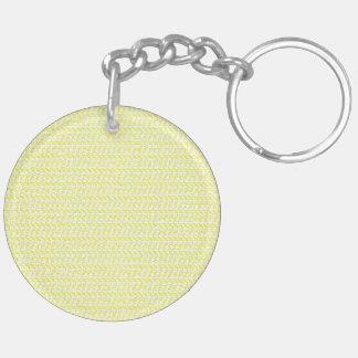 Creamy Yellow Weave Mesh Look Keychain