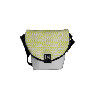 Creamy Yellow Weave Mesh Look Messenger Bag