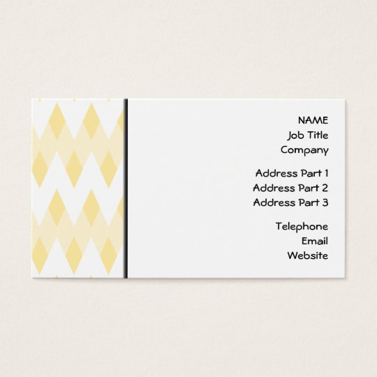 Creamy Yellow Zigzag Pattern with Diamond Shapes. Business Card