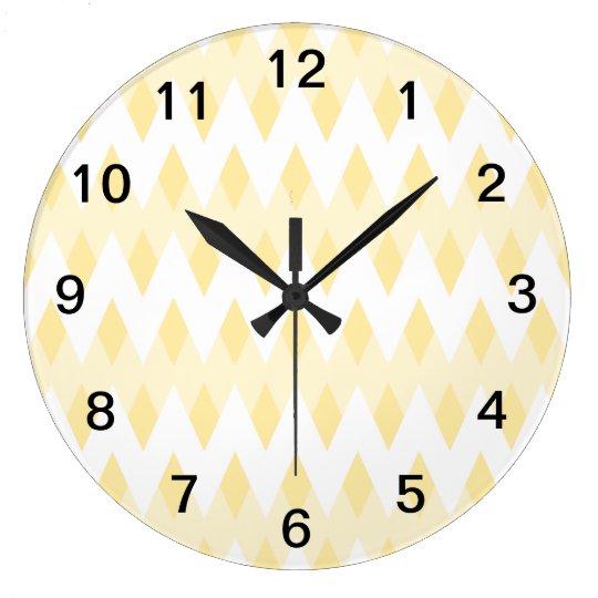 Creamy Yellow Zigzag Pattern with Diamond Shapes. Large Clock