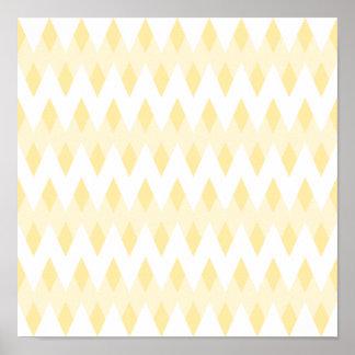 Creamy Yellow Zigzag Pattern with Diamond Shapes. Poster