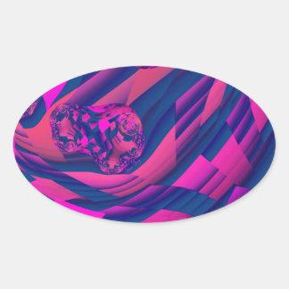Creando los mundos - magia abstracta de la magenta pegatina de oval personalizadas