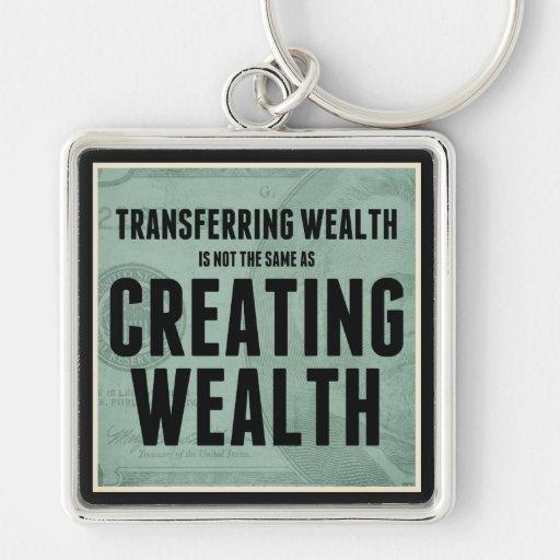 Crear riqueza llavero cuadrado plateado