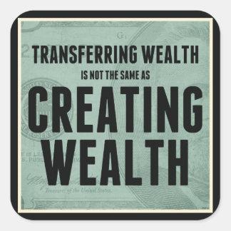 Crear riqueza pegatina cuadrada