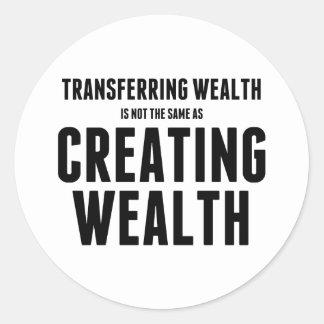 Crear riqueza pegatina redonda
