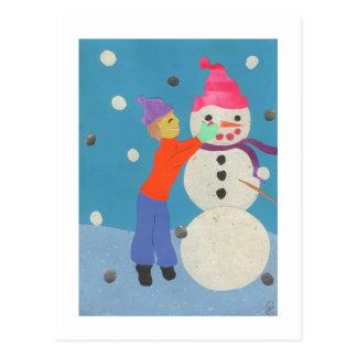 Crear un muñeco de nieve postal