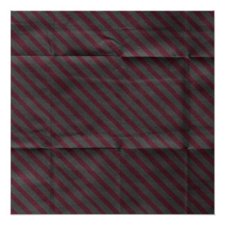 Creased Burgundy Gray Stripes Background Poster