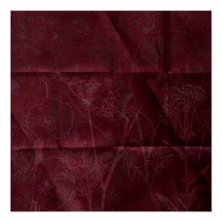 creased flower background burgundy poster