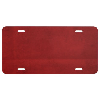 Creased Red Background License Plate