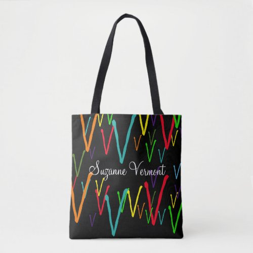 create a colorful initials pattern tote bag