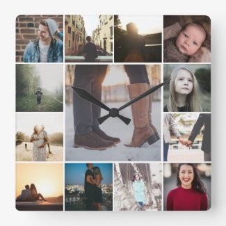 Create a Custom 13 Photo Collage Template Square Wall Clock