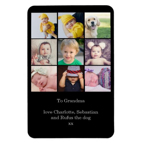 Create a Custom 9 Photo Collage Personalized Magnet