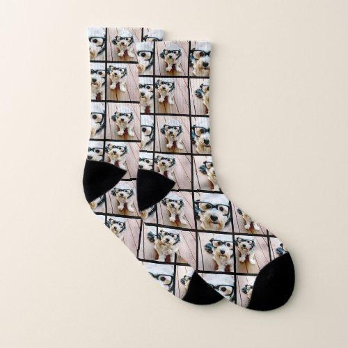 Create a Custom Photo Collage with 4 Photos Socks