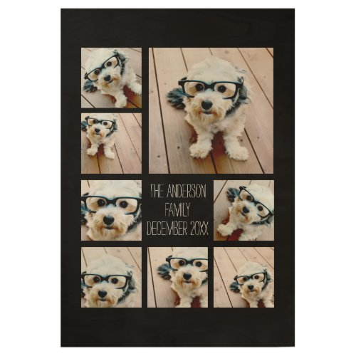 Create a Custom Photo Collage with 8 Photos Wood Poster