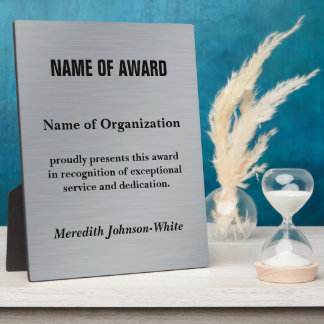 Create a Custom Volunteer Recognition Award (Silv) Display Plaques