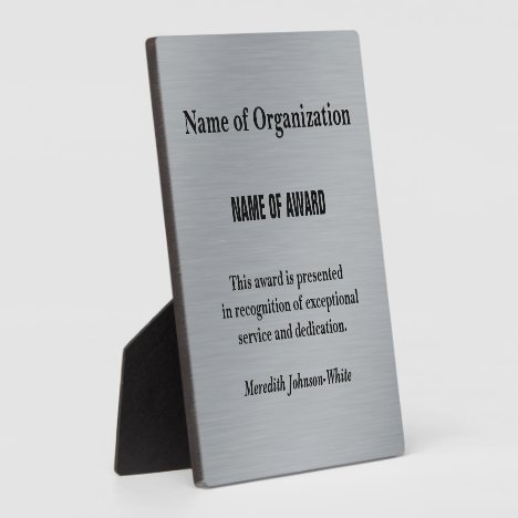 Create a Custom Volunteer Service Award (Silver) Plaque