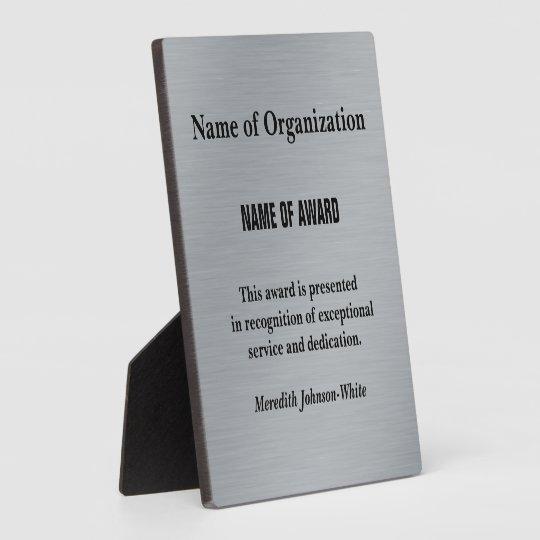 Years Of Service Award Template: Create A Custom Volunteer Service Award (Silver) Plaque