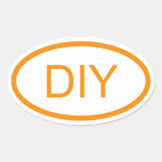 Create a Dark Orange Euro Style Oval Sticker