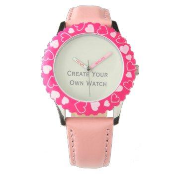 Create A Kids Steel Watch W/ Bezel Pink Hearts by DigitalDreambuilder at Zazzle