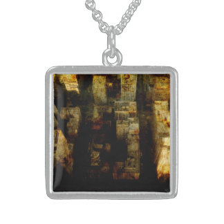 create a medium sterling silver square necklace