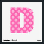 """Create a Monochromatic Polka Dot Letter D Wall Decal<br><div class=""""desc"""">Pick your favorite color to customize this design on the shape of the letter D. The seamless tile will create a monotone polka dot pattern that works on each size available. Create a monogram or spell our your child&#39;s name to personalize her room.</div>"""