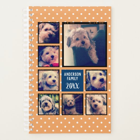create a photo collage with 8 photos navy orange planner zazzle com