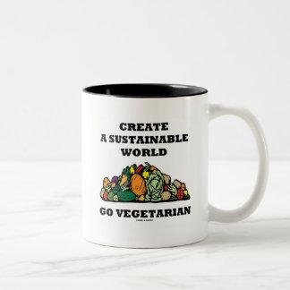 Create A Sustainable World Go Vegetarian Two-Tone Coffee Mug