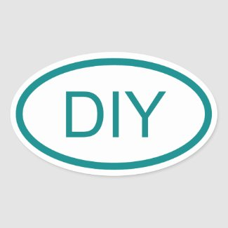 Create a Teal Euro Style Oval Sticker