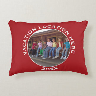 Create A Vacation Souvenir with Photo and Text Accent Pillow