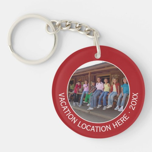Create A Vacation Souvenir with Photo and Text Keychain