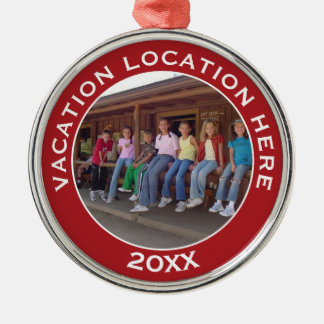 Create A Vacation Souvenir with Photo and Text Metal Ornament
