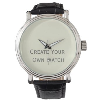 Create A Watch W/ Vintage Leather Strap Low Cost by DigitalDreambuilder at Zazzle