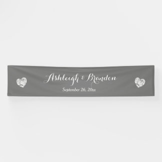 Create A Wedding Banner A6 Gray and Grunge Hearts
