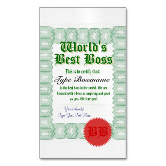 Create a World's Best Boss Certicate Magnetic Business Cards (Pack Of 25)