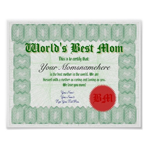 Create a World's Best Mom Certificate Poster