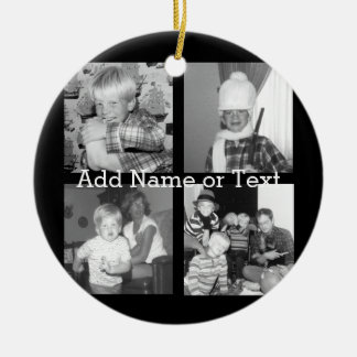 Create an Instagram Collage with 4 photos - black Double-Sided Ceramic Round Christmas Ornament