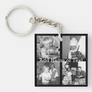 Create an Instagram Collage with 4 photos - black Double-Sided Square Acrylic Keychain