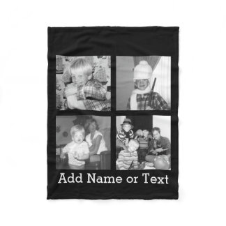 Create an Instagram Collage with 4 photos - black Fleece Blanket