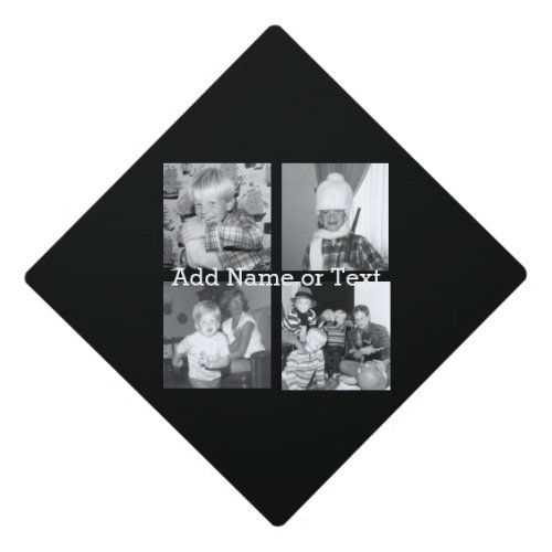 Create an Instagram Collage with 4 photos _ black Graduation Cap Topper