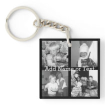 Create an Instagram Collage with 4 photos - black Keychain