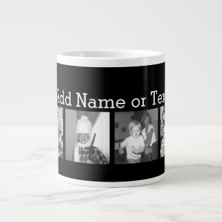 Create an Instagram Collage with 4 photos - black Large Coffee Mug