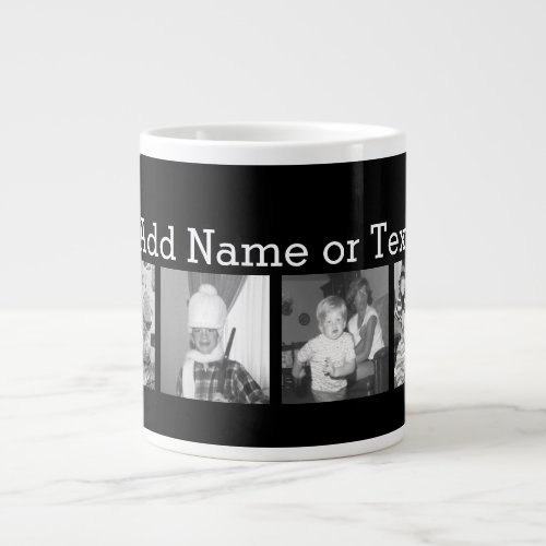 Create an Instagram Collage with 4 photos _ black Large Coffee Mug