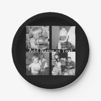 Create an Instagram Collage with 4 photos - black Paper Plate