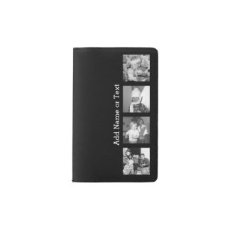 Create an Instagram Collage with 4 photos - black Pocket Moleskine Notebook
