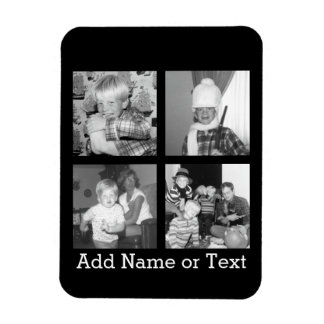 Create an Instagram Collage with 4 photos - black Rectangular Photo Magnet