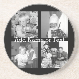 Create an Instagram Collage with 4 photos - black Sandstone Coaster