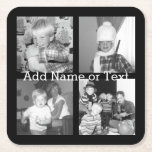 "Create an Instagram Collage with 4 photos - black Square Paper Coaster<br><div class=""desc"">Use four square photos to create a unique and personal gift. Or you can keep the hipster puppy and make a trendy keepsake. If you need to adjust the pictures,  click on the customize tool to make changes.</div>"