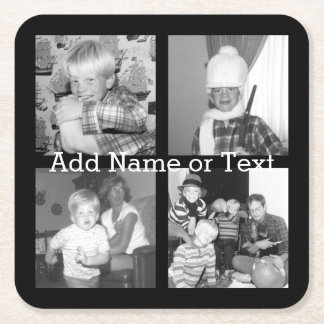 Create an Instagram Collage with 4 photos - black Square Paper Coaster